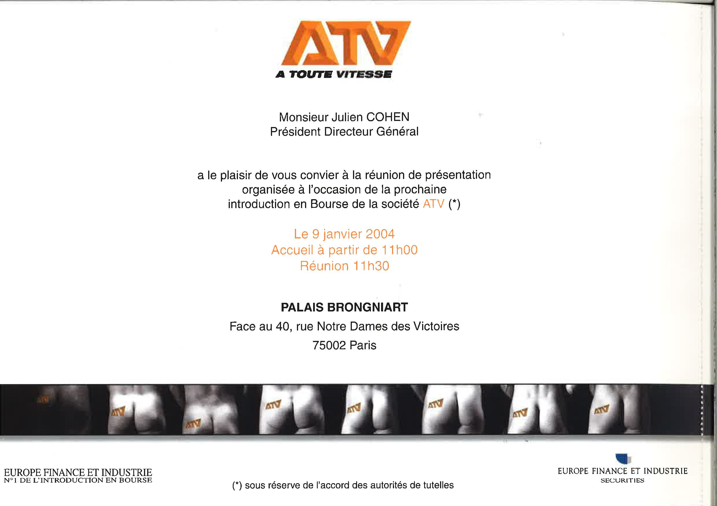 Introduction en bourse d'ATV - verso